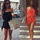 Women Jumpsuit Off Shoulder Lace-up Sleeveless Elastic Short Romper