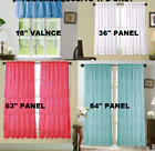 2pc Solid Panel Window Curtain Voile Sheer Multilayered Crushed Shubby Chic New