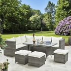 9 Seater Rattan Corner Sofa Set - Outdoor Garden Dining Table