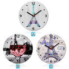 Paris Eiffel Tower Wine Butterfly Wooden Wall Clock Modern Home Room Decoration
