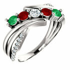 Mother's Day Ring Jewelry Sterling SILVER Birthstone Ring 1-5 Stones, Mom's ring