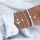 Women Girls Boho Multilayer Bracelet Map Bead Heart Tassel Bangle Cuff Jewellery