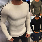 Fashion Slim Fit Pullover Men O-Neck Solid Knit Sweater Long Sleeve Top Noted