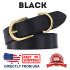 Women's Handcrafted Gold Color Metal Buckle Genuine Leather Belt