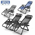 Twin Pack Zero Gravity Sun Lounger Sun Bed Recliner Garden Summer Chair Patio