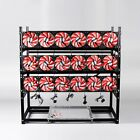 19 GPU Mining Rig Aluminum Stackable Case Open Air Miner Frame 4 PSU + 18 Fans !