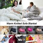 Soft Wool Thick Line Yarn Throw Handmade Chunky Knit Sofa Travel Blanket Bedding image