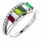 Family Ring Sterling Silver 1-6 Baguette Birthstones Mothers Day Ring
