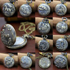 Stainless Steel Steampunk Antique Pocket Watch Quartz Necklace Chain Gift JTS image