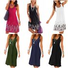 AELSON Womens Summer Casual Sleeveless Mini Printed Vest Dress Size S - XL