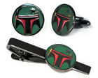 Boba Fett Cufflinks Star Wars Tie Clip Disney Vader Wedding Groomsman Cuff Links $17.95 USD on eBay