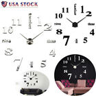 Frameless Large DIY Wall Clock 3D Numbers Sticker Mirror Home Office Decoration