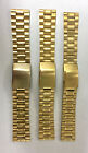 Gold Tone Stainless Steel Linked Braclet Solid Metal Watch Band Size 20MM - 24MM