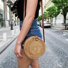 Rattan Bag Handmade Bali Ata Straw Woven Circle Crossbody Handag For Women Lady
