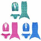 Grils Kids Pure Color Mermaid Swimwear Tail 3pcs Bikini Set Costume Bath Suits T