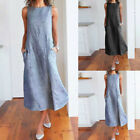 Fashion Women Striped Sleeveless Dress Crew Neck Linen Pocket Long Dress DA