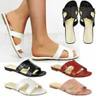Womens Ladies Flat H Slider Slip On Sandals Comfort Shoes Summer Mule New Size