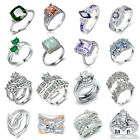 Elegant 925 Sterling Silver White Sapphire Gemstone Rings Wedding Women Jewelry