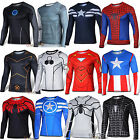 Superhero Compression Men Long Sleeve T-Shirt Bicycle Running Fitness Sports Top image