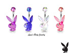 Playboy Bunny AB Effect Acrylic with Clear Gem Eye Belly Navel Ring Select Color image