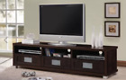 """TV & Media Cabinet Fits up to 75"""" Espresso Frost Glass Drawers Silver SHIPS FREE"""