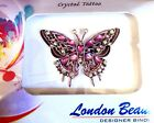 """London Beauty CRYSTAL BUTTERFLY Body Art Adhesive TATTOO in RED BLUE PINK 1.5x2"""""""