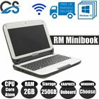 "Rm Minibook 10.1"" Laptop Intel Core Atom 2gb Pc3 Ram 250gb Hdd Windows 10 Webcam"