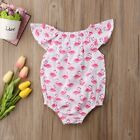 S-1471 White and Pink Flamingo Romper  (Ready to Ship from Ohio)(Free Shipping)