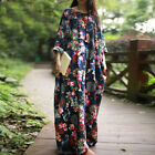 Women's Casual Loose Long Sleeve Floral Cotton Linen Long Dress Retro Round Neck
