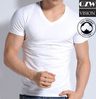 3-6 Pack Mens 100% Cotton Tangless Round V-Neck T-Shirt Undershirt Tee White image