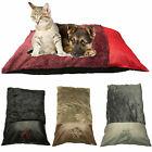 PET DOG BEDS - Comfy Fur Leather + REMOVABLE and WASHABLE Zip Cover SMALL+LARGE