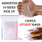 100pc Reusable Zip Lock Bags HEAVY DUTY Clear Plastic Poly Grip Seal Freezer Bag