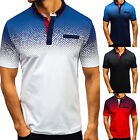 Mens V-Neck Slim Fit T-shirt Casual Polo Shirt Short Sleeve Outfit Tops Golf Tee