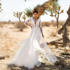 Women Lace White Formal Wedding Long Sleeve Deep V Neck Backless Maxi Long Dress фото