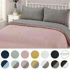 Brentfords Plain Duvet Cover & Pillowcase Reversible Bedding Set OR Fitted Sheet