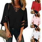 Fashion Women's V Neck Mesh Panel Blouse 3/4 Bell Sleeve Casual Loose Top Shirt