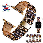 Luxury Resin Leopard Tortoise Watch Band Strap For Apple Watch 38 40 42 44mm image