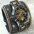 Wide double buckle leather watch cuff with steampunk watch face Distressed black