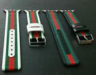 For Apple Watch Band Gucci Pattern Stripe Sport Replacement Leather Nylon Strap image