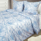 Set of 2 Shams 100% Cotton White / Blue Pillowcases  image