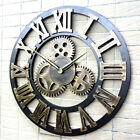 Large Round Skeleton Roman Numeral Modern Home Minimalist Wall Clock Decor Q5F0U