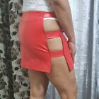 Pvc Latex Stretch Mini Skirt Women's Ladies Girls Cut Out Straps Short Skirt 071