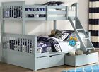 Grey Triple Sleeper Bunk Bed With Storage Drawers - Solid Pine - Brand New Bunks