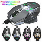 RGB 7 Keys Wired Gaming Mouse Programming Settings Adjustable DPI Backlight Mice
