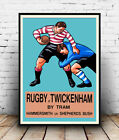 Rugby at Twickenham by Tram, Vintage travel advertising poster reproduction.