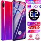 """X23 6.2"""" Water Drop Screen Smartphone Dual Sim Android 9.1 6g+128gb Phone New"""