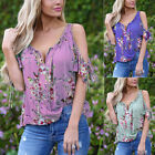 Women's Tops Ladies Evening Summer Short Sleeve Blouse Party V-Neck Stylish