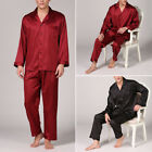 Fashion Mens HotSatin Long Traditional Pyjamas Pyjama Long Sleeve Tops Pants