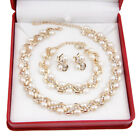 18K Gold/Silver Plated Bridal Necklace Earrings Bracelet White Pearl Jewelry Set