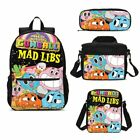 Children Schoolbag The Amazing World Of Gumball Backpack Insulated Lunch Bag LOT